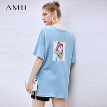 Amii minimalist green summer fashion foreign T-shirt female 2019 summer New loose round neck embroidery short-sleeved shirt