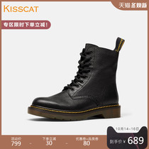 Kissing cat 2019 autumn new boots leather casual round head low with handsome Martin boots female ins British style