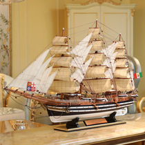 Wooden simulation sailboat model ornaments Wes puqi No. 90cm large solid wood craft ship housewarming gift