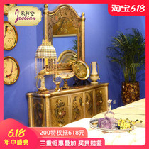 American neoclassical solid wood multi-layered hand-painted gold and silver foil carving retro pattern 1.6 meters Xuanguan cabinet bedroom foyer