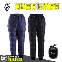 Black ice down pants outdoor down pants thick water repellent goose down Aurora 100 200 winter snow mountain f8514