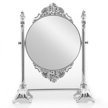 Home Decoration European Court retro creative dresser fixture Makeup Supplies metal silver-plated queen double-sided mirror