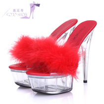 2019 summer sexy super high heels 15cm nightclub Crystal fine with hairy waterproof desk sandals large size 44