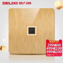 Delixi board 3D drawing Champagne Gold network computer socket 86 household Switch five-hole power socket