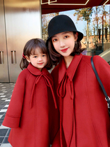 AM sauce mother home 2019 Winter new must-enter the New Year loaded Hepburn red parent-child woolen coat