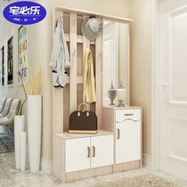 Combination shoe cabinet with hangers 90cm entrance cabinet into the door clothing hat cabinet shoe cabinet hangers combination with mirror