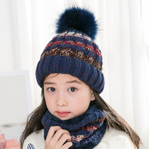 Cute hair ball wool hat collar suit tide Korean Winter thick warm knit hat children's hat