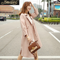 Windbreaker Coat Womens spring 2019 new Korean version slimming sweet Lady Pink long sleeve half open collar medium length