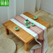 Bamboo Kang Table Solid wood square table square Bed Learning table Table tatami table Small coffee table Floating window low table