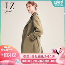 JUZUI jiu posture official flagship store 2019 spring atmospheric lapel windbreaker female coat side fork belt section