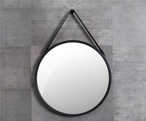 Free perforated iron decorative mirror round mirror makeup mirror wall mirror bathroom mirror iron creative rope hanging mirror