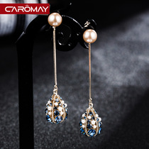 Baroque retro style earrings female long section tassel earrings South Korea net red temperament high sense of face thin earrings