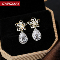 Korean version mori flower ins water droplet fringed earrings Earring female 925 silver needle long temperament ear clip earrings