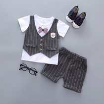 2 tide baby handsome dress boy short-sleeved small Suit Suit summer suit 4 childrens fashion Two-Piece 1 year old 3