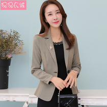 Small suit Female coat Korean version 2019 new spring decoration body female suit lattice long sleeve top casual short tide
