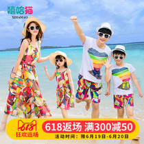 Beach parent-child beach vacation summer 2019 mother and child mother and daughter dress a family of three four sets of Western style