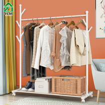 Simple hanger floor bedroom coat rack household single-pole clothes shelf multifunctional mobile placement storage rack