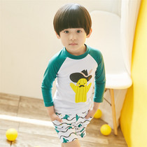 Childrens swimsuit boys split long-sleeved swimwear childrens cartoon quick-drying sunscreen warm bathing suit swimming pants Korean version