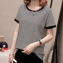 Large size women fat mm summer suitable for fat women to wear short-sleeved T-shirt cover belly was thin foreign sister younger