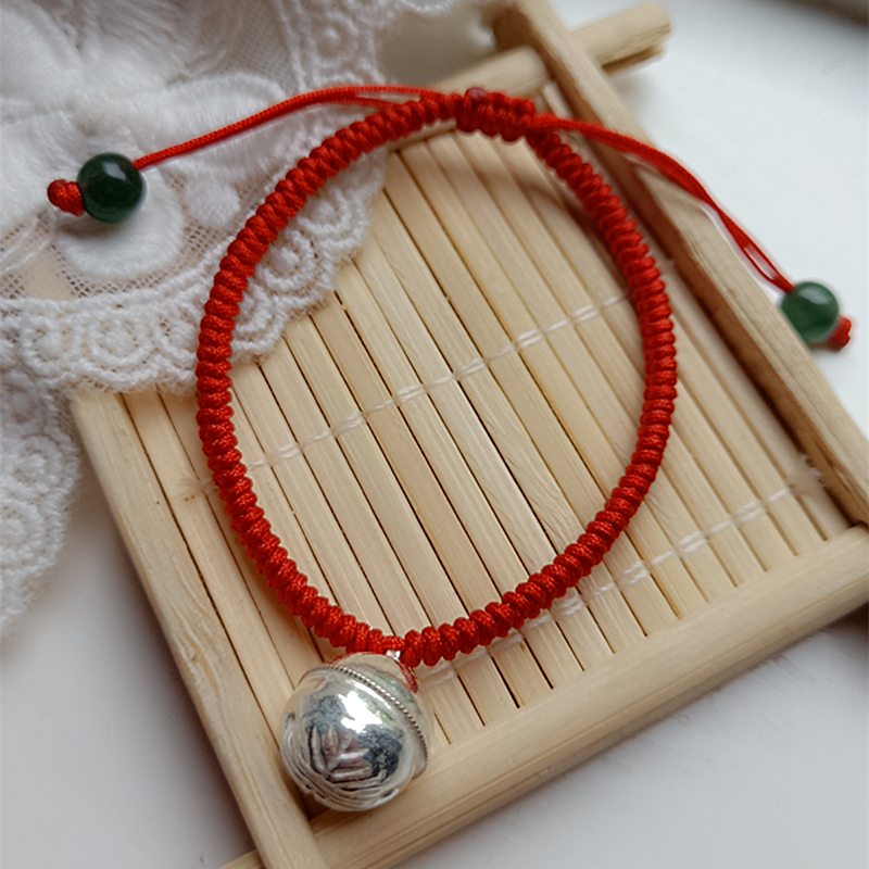 925 pure silver bell red rope bracelet bracelet newborn baby childs bracelet full moon birthday gift.