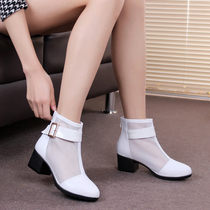 2019 spring new leather white gauze short boots spring and autumn hollow shoes rough with leather womens boots single boots