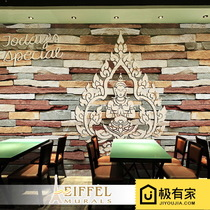 Thai retro style animal image wall paper three-dimensional brick pattern Buddha background restaurant yoga pavilion large mural