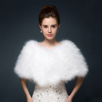 Ostrich Hair shawl fur bride wedding dress big code shawl winter shoulder cloak white wedding annual coat
