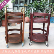 Wine car solid wood round wine car beverage cart Hotel trolley Delivery wine car snack car diner