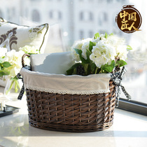 Yi-Home idyllic straw willow rattan toys dirty clothes clutter storage storage basket box Bucket box