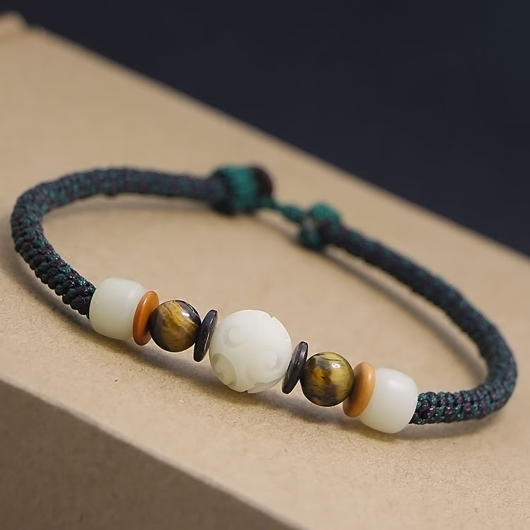 DIY white jade Bodhi tiger eye stone rough hand-woven red rope bracelets foot rope chains couple men and women.