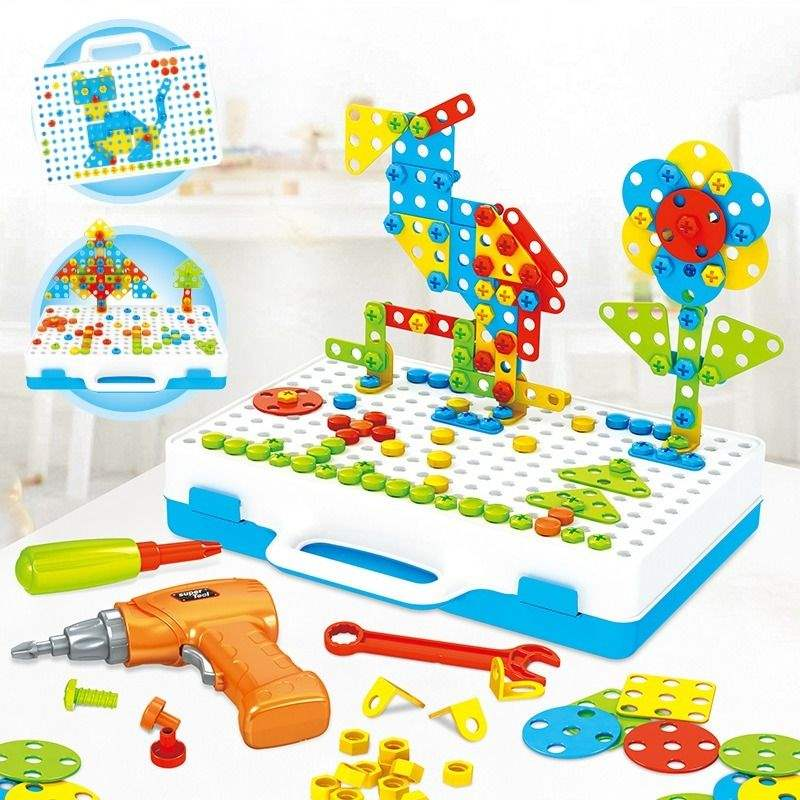 Childrens puzzle assembly toys drill toys three-dimensional building blocks toys 3-6 years old hands puzzle tools assembly