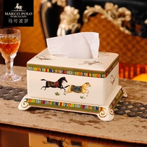 European Horse creative home retro ceramic tissue box living room is not love Ma Shi coffee table toilet paper