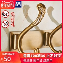 Free punch hanging hook wall hanging wall hook European clothing Hook Hook room door after clothes hook