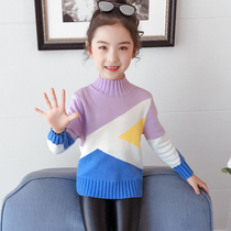 Girl sweater plus velvet thickening cotton Winter new children's fashion stitching contrast color sweater warm clothing