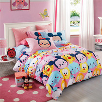 Genuine Mickey Minnie cartoon childrens bedding girls cotton four-piece cotton Princess wind bed quilt