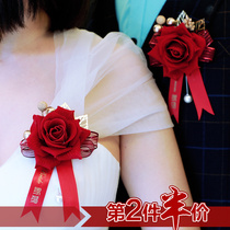 Creative wedding items Chinese coriander wine red festive wedding bride and groom simulation rose corsion props