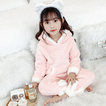 Girls pajamas 2019 new autumn and winter warm flannel children's girl coral cashmere Big children's home clothes set