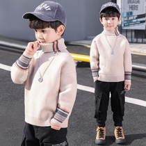 Boys sweater Mink fleece sleeve 2019 New children's handsome mohair autumn and winter clothing with thick fleece bottoming shirt
