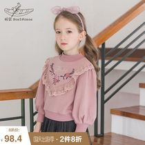 Boat rat children's clothing sweater 2019 new autumn plus velvet thick embroidery Korean rib long-sleeved children's shirt