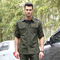 Outdoor sports summer thin cotton wear-resistant long sleeve tooling shirt men's fashion military fans tactical thin coat shirt