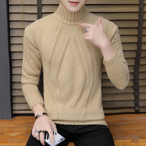Sweater Mens Winter 2018 new Korean version trend semi-high collar linens mens autumn and winter wear thickened bottom knitted sweater