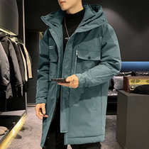 2019 New men's winter jacket Korean version of the trend in the long section down jacket Tide brand handsome tooling Parker clothes