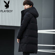 Playboy cotton coat male long section of the Korean version of the youth cotton clothing student wear winter boys coat trend cotton jacket