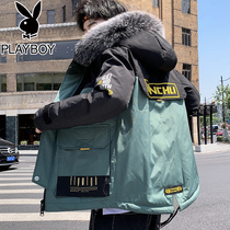 Playboy winter hooded cotton padded jacket 2019 new cotton clothing Tide brand Korean version of the trend of short cotton jacket