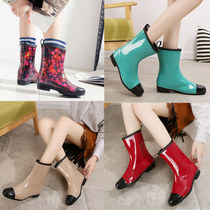Rain boots women in the tube Korean fashion rain boots plus cashmere warm adult shoes work waterproof shoes non-slip water boots rubber shoes