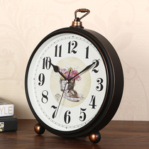 European-style retro silent clock table large table clock creative simple modern living room bedroom TV cabinet wine cabinet