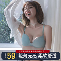 Underwear female no rims small chest gather adjustment type sexy flat chest special bra cover student high school girl suit