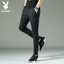 Playboy summer men's casual pants thin section Korean slim trend long pants wild feet loose waist black pants