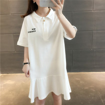 In the long section of solid color over the knee Lotus skirt wild polo collar shirt loose summer 2019 new short-sleeved T-shirt female
