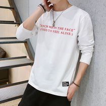 H-75 autumn mens long-sleeved t-shirt mens shirt cotton round neck loose printing Korean version of the trend of fashion compassionate
